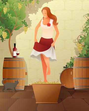 여자 배럴 및 포도 그라데이션 플랫 벡터 일러스트와 와인 축제 일러스트