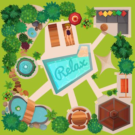 Landschapsontwerp van perceel hoogste mening met zwembad, gazebo, schommeling, tuinmeubilair en decoratie vectorillustratie