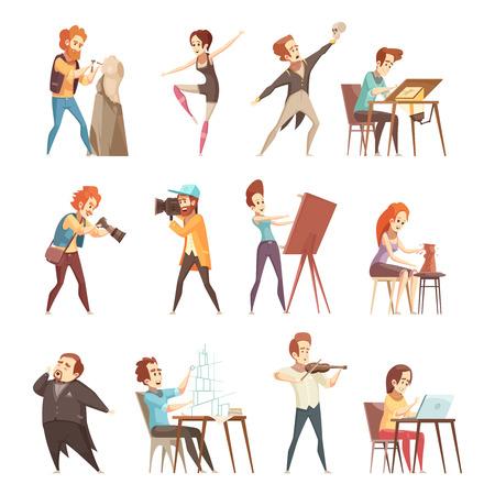 Retro- Karikaturikonen der kreativen Berufsleute, die mit Künstlerdesignerbildhauerphotographenschauspielertänzer eingestellt wurden, lokalisierten Vektorillustrationen