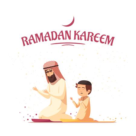 Padre e hijo árabes en ropa de musulmanes tradicionales rezando durante la ilustración de vector de dibujos animados de celebraciones del mes sagrado de Ramadan kareem Foto de archivo - 89112188