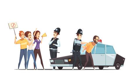 感情的な人と役員漫画ベクトル図で逮捕された抗議者のグループに抗議している群衆と警察のデザイン コンセプト