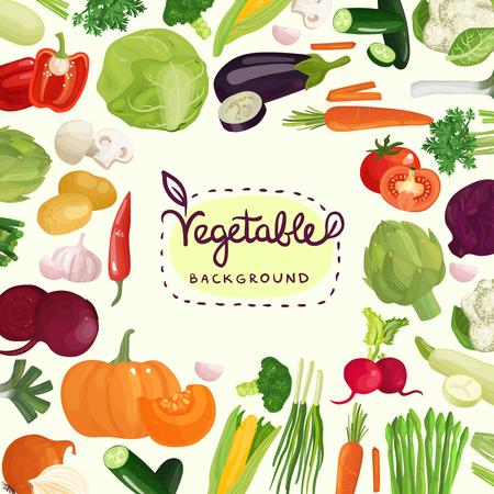 토마토, 감자, 고추 및 흰색 배경에 벡터 일러스트 레이 션 붓글씨 레터링과 버섯 등 다채로운 야채
