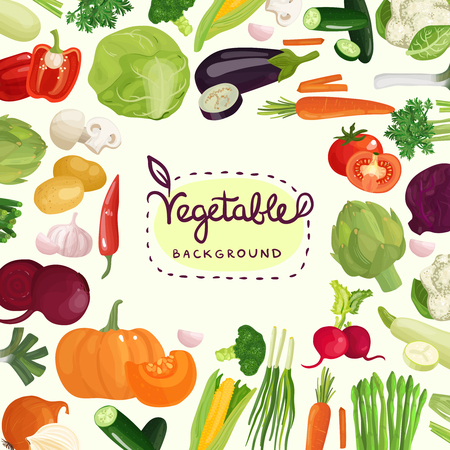 Colorful vegetables including tomato, potato, red pepper and mushrooms with calligraphic lettering on white background vector illustration Banco de Imagens - 89112199