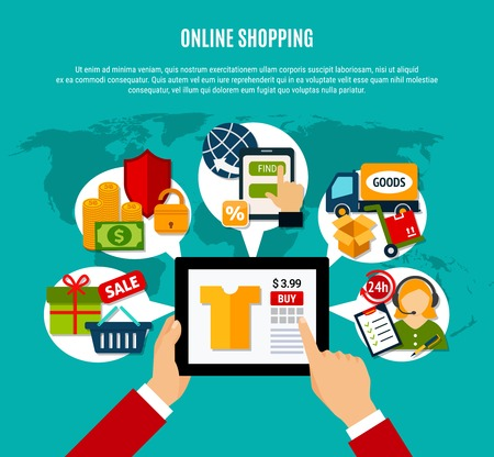 Internet shopping flat composition with tablet computer, 24h service, secure payment, delivery on turquoise background vector illustration Banco de Imagens - 89112221