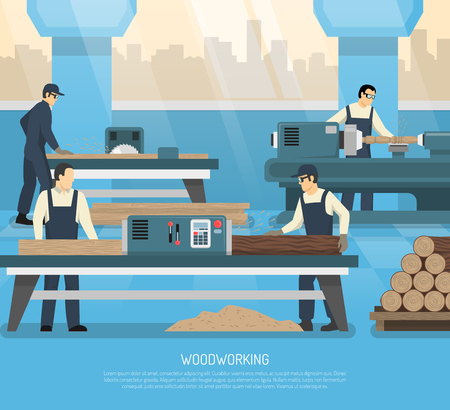 Woodworking conceptual composition with human characters of workers machine tools and equipment with editable text vector illustration