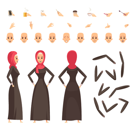 Arab woman in traditional moslim long black robe and red  headscarf with accessories constructor set vector illustration