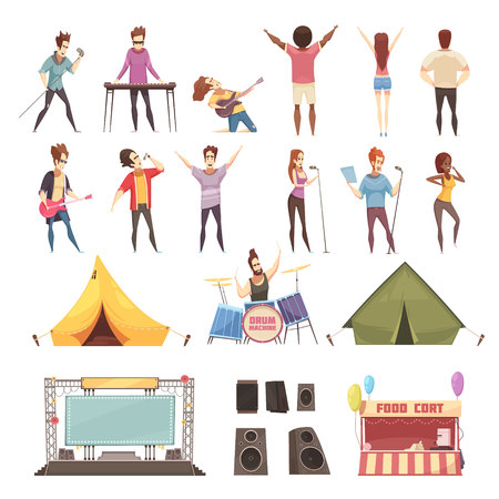 Open air festival retro cartoon icons set with singers musical instruments guitarist stage amps isolated vector illustration