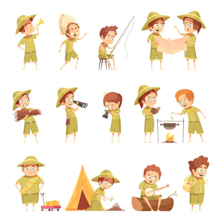Boy scout fishing campfire cooking playing guitar in front of tent retro cartoon icons collection isolated vector illustration