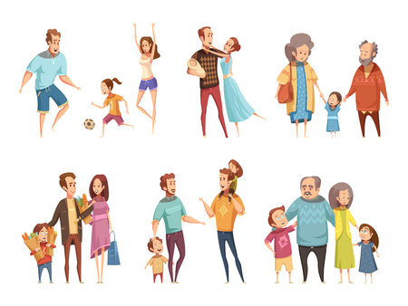 Family cartoon set with parents grandparents and children isolated vector illustration Vettoriali