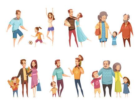 Rodzina kreskówka zestaw z rodzicami, dziadkami i dziećmi na białym tle ilustracji wektorowych