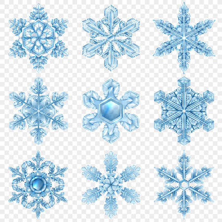 Negen lichtblauw realistisch sneeuwvlokpictogram dat met verschillende vormen en stijlen vectorillustratie wordt geplaatst