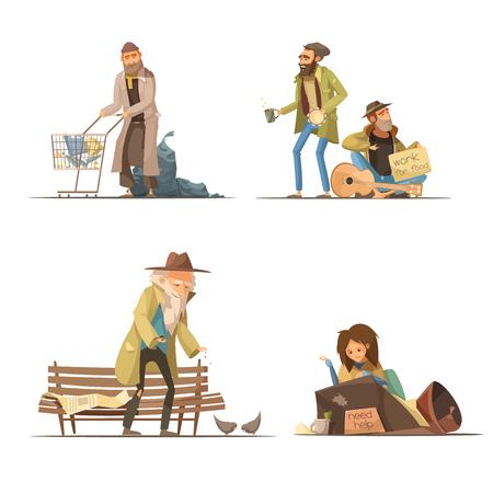 Dakloze mensensamenstellingen met de vrouw van de afval bejaarde bij straatmensen die voor voedsel geïsoleerde vectorillustratie werken Stock Illustratie