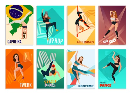 Set of vertical cards with modern dances including hip hop, go-go, aerial ribbons isolated vector illustration