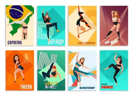 Reeks verticale kaarten met moderne dansen met inbegrip van hiphop, go-go, luchtlinten geïsoleerde vectorillustratie