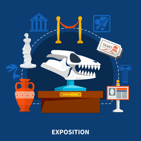 Museum exposits decorative icons set on blue background with amphora archaeological finds rope fence ancient statue flat vector illustration