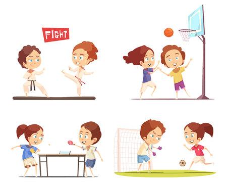 놀이터 탁자 축구 농구와 가라테 벡터 일러스트 레이 션에 종사하는 아이들과 2 x 2 평면 디자인 개념을 스포츠