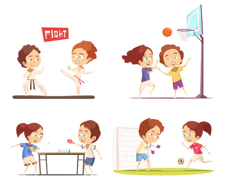 Kids sport 2x2 flat design concept with funny children playing table tennis football basketball and engaged in karate vector illustration