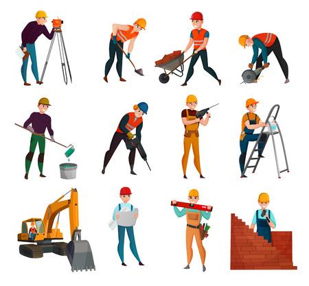 Reeks bouwvakkers in veiligheidsvesten en helmen met werkend hulpmiddel en materialen geïsoleerde vectorillustratie