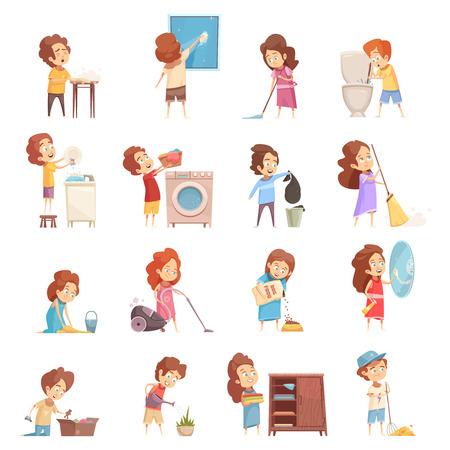 Die Kinder, welche die Retro- Karikaturikonen eingestellt mit dem Kindervakuum fegen, waschende Teller füttern Haustiere säubern, lokalisierten Vektorillustration