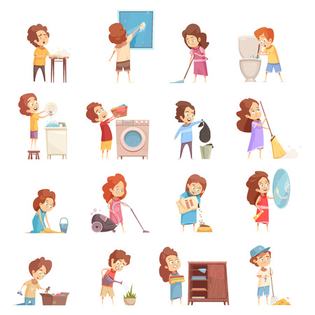 Kids cleaning retro cartoon icons set with children vacuum sweeping washing dishes feeding pets isolated vector illustration