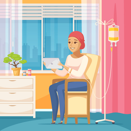 Oncology patient flat composition with young woman with intravenous dropper in hospital ward vector illustration