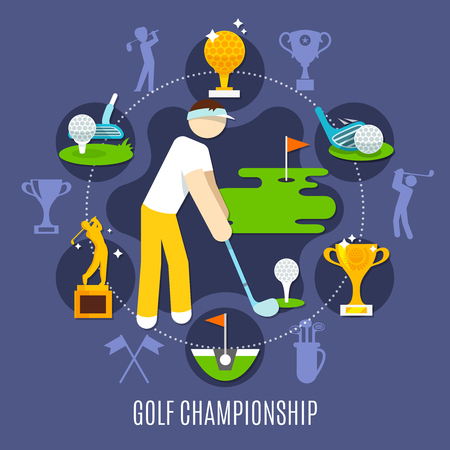 Golf championship round composition with player in game stance, trophies, sports equipment on blue background vector illustration Stok Fotoğraf - 89112271