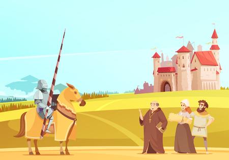 Middeleeuwse het levensscène met ruiter in het volledige kostuum van het lichaamspantser en kasteel op achtergrondbeeldverhaal vectorillustratie