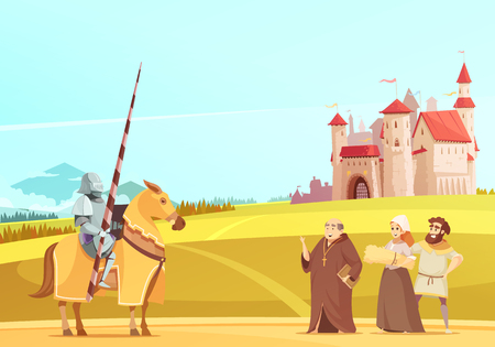 Medieval life scene with horseman in full body armor suit and castle on background cartoon vector illustration