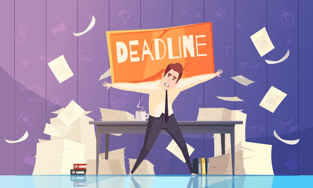Business leaders and project managers deadline time limits problems with growing paperwork piles cartoon poster vector illustration