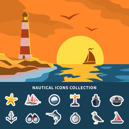 Nautical icons collection with yacht sunset and lighthouse flat vector illustration Çizim