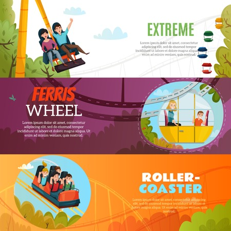People in amusement park horizontal banners with ferris wheel roller coaster and extreme attraction flat compositions vector Illustration Vectores