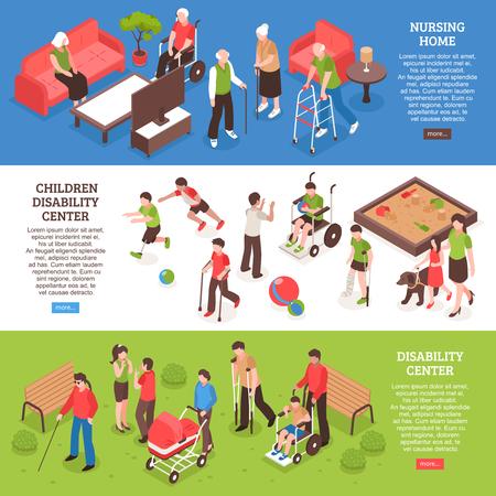 特別養護老人ホームでの水平方向の等尺性バナー、障害者大人と子供のためのセンター分離ベクトル図