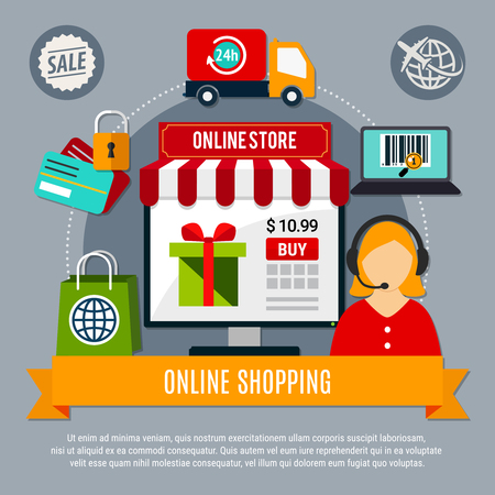 Online store composition on grey background with electronic devices, secure payment, 24h delivery service, operator vector illustration