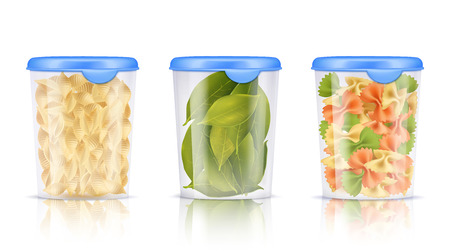 Three isolated filled plastic food containers icon set with pasta and dried bay leaves vector illustration Illustration