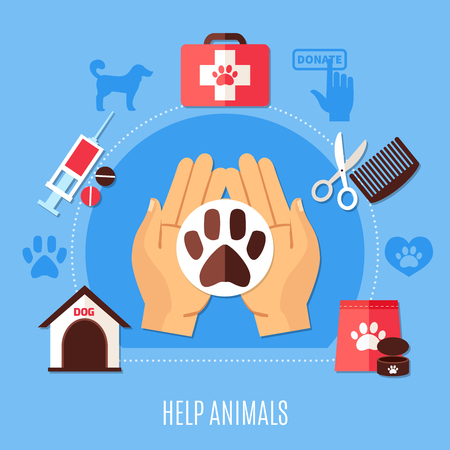 Charity composition with silhouette pictograms of dog pugmarks and icons of veterinary meds and human hands vector illustration