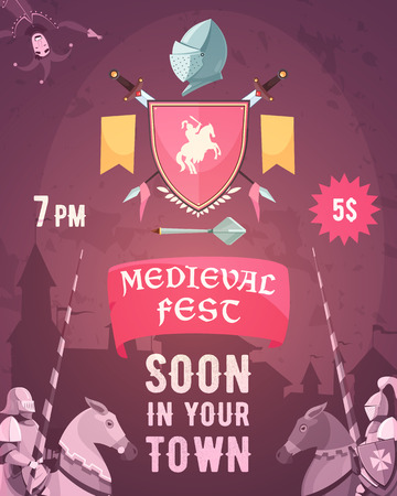 Medieval fest announcement cartoon poster with date entry price riders coat of arms heraldic symbols vector illustration