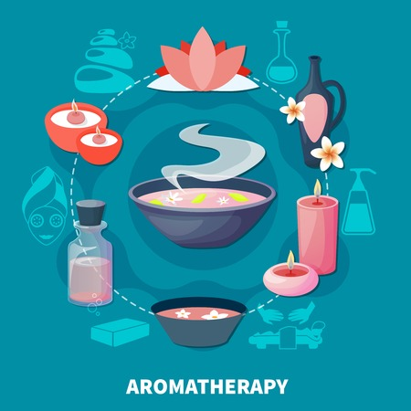 Essential oils aromatherapy for relaxation rejuvenation and stress relief spa wellness resort ad flat poster vector illustration Illustration