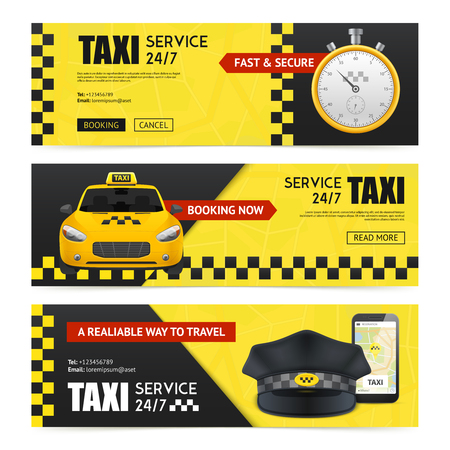 Taxi horizontal banners set with transportation symbols realistic isolated vector illustration