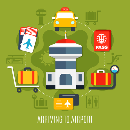 Airport arriving passenger service guide with transportation luggage storage flight registration symbols flat poster background vector illustration