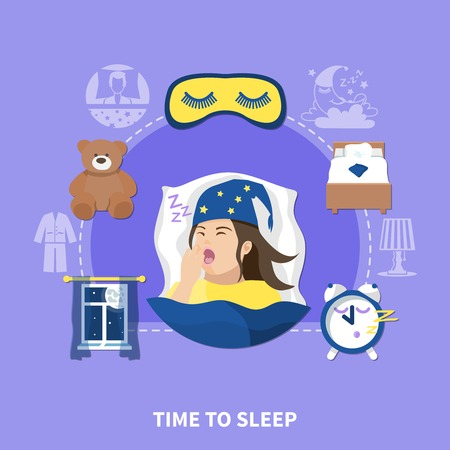 Time to sleep flat circle composition background poster with pajama nightwear alarm clock and bed vector illustration