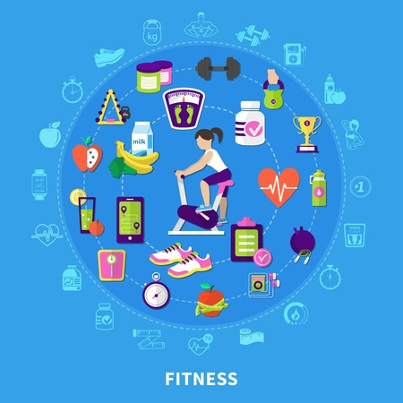 Fitness round flat composition with woman on exercise bike, sports equipment, nutrition on blue background vector illustration