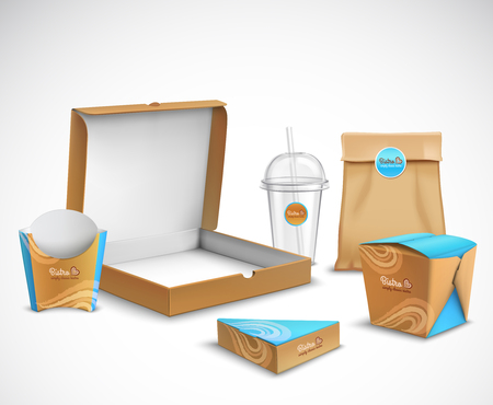 Fast food packaging corporate identity realistic templates set modern beige and bright blue turquoise colors vector illustration Ilustrace