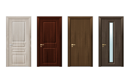 Four isolated and realistic wooden doors design icon set in different styles and colors vector illustration Stock Illustratie