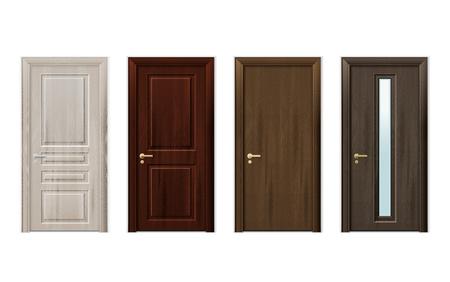 Vier geïsoleerde en realistische houten die deuren ontwerpen pictogram in verschillende stijlen en kleuren vectorillustratie wordt geplaatst