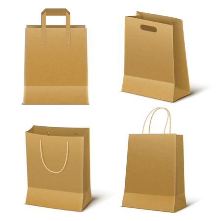 Set of four empty shopping bags made from brown paper in realistic style isolated vector illustration Illustration