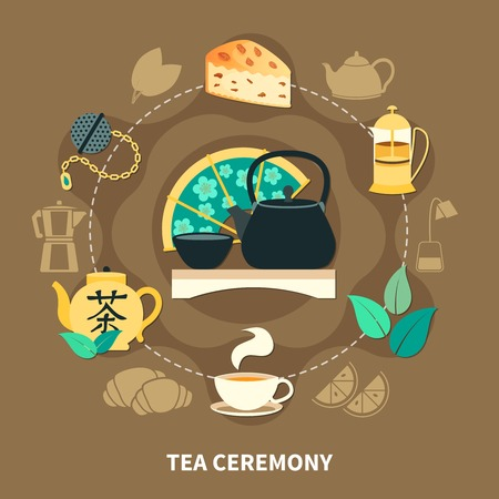 Tea ceremony round composition with cup, teapots, strainer, green leaves, pastry on brown background flat vector illustration