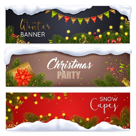 Christmas horizontal banners set with snow symbols realistic isolated vector illustration Illustration