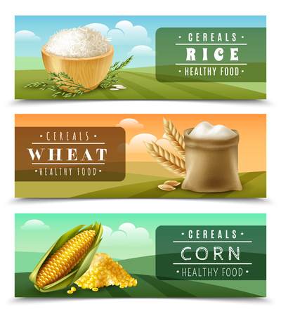 Three horizontal cereals banner set with rice wheat and corn healthy food descriptions vector illustration Иллюстрация