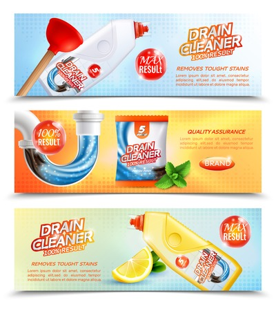 Drain cleaner horizontal banners collection with advertising images of plastic packages flush tubes stickers and text vector illustration