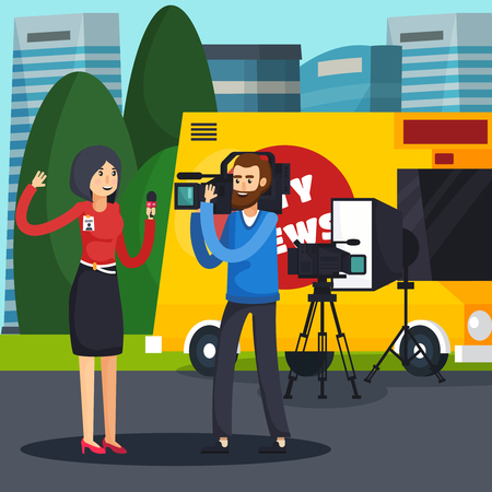 Orthogonal composition with woman reporter and cameraman, professional equipment and car on city background vector illustration